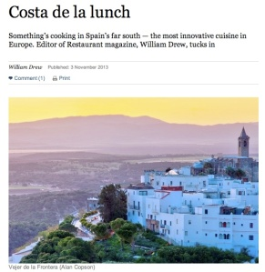 Costa de la Lunch - Vejer gastronomy in the Sunday Times